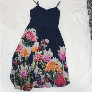 Navy Floral Spaghetti Strap Dress